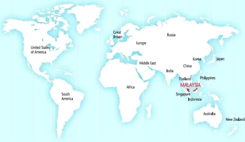 Malaysia on world map - World map showing malaysia (South-Eastern ...