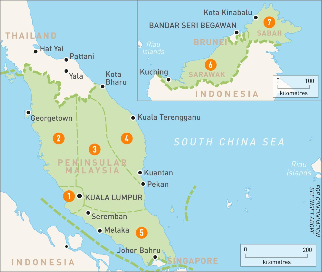 Malaysia region map - Malaysia regions map (South-Eastern ...