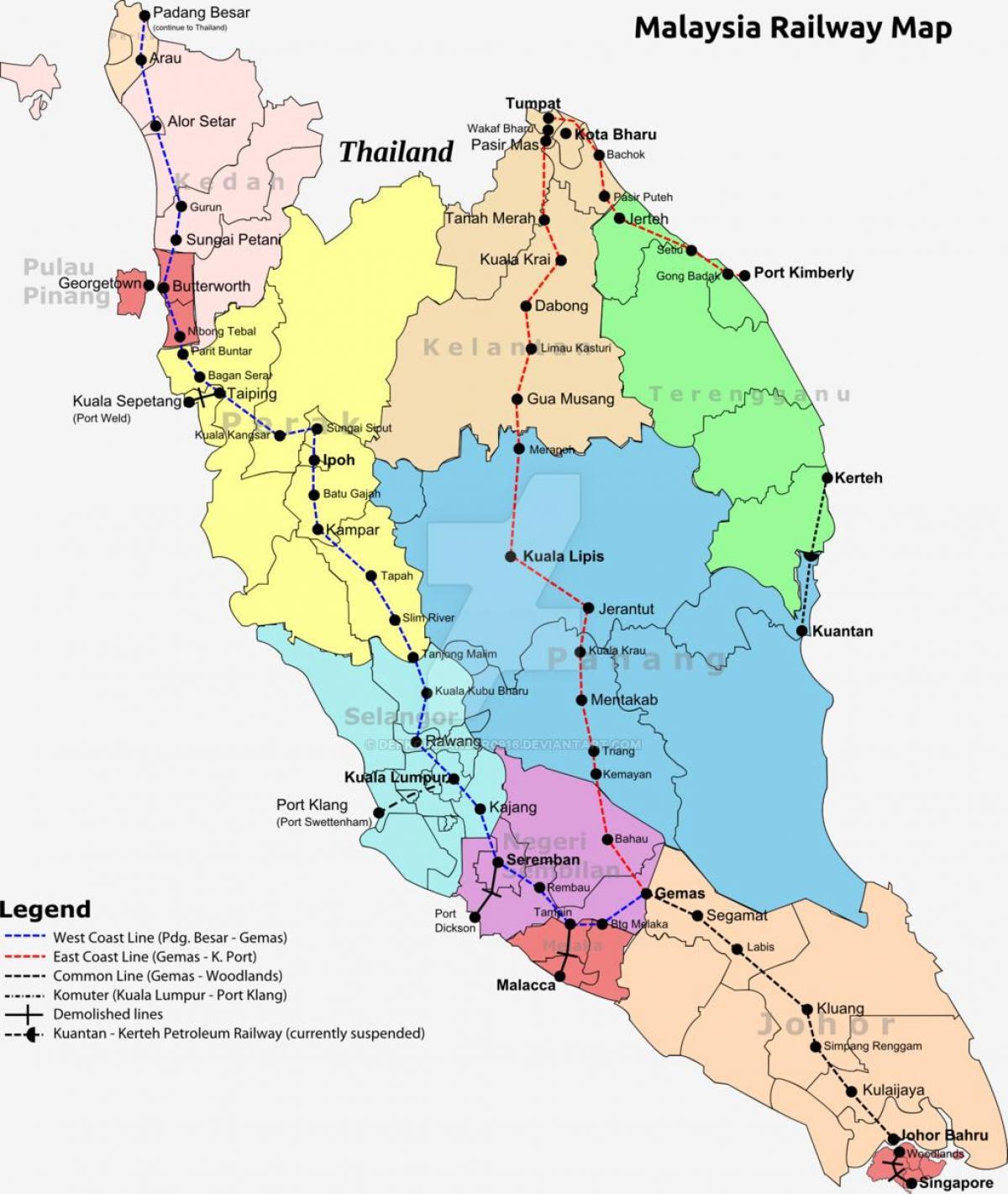 Map Of Asia Malaysia.Malaysia Railway Map Train Map Of Malaysia South Eastern Asia Asia
